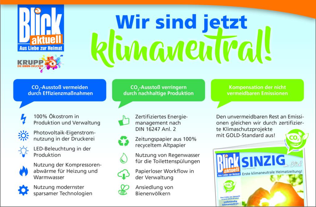 Das 3-Säulen-Modell für BLICK aktuell als klimaneutrale Heimatzeitung (Quelle: Krupp Verlags GmbH)